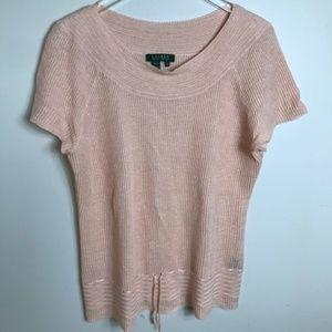 Ralph Lauren Peach Linen Sweater size XL 2148